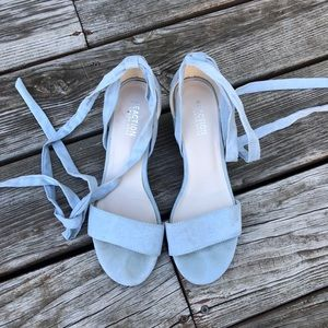 Blue lace up sandals